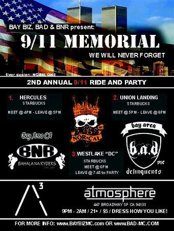9-11 Ride Hosted By Bay Biz,B.A.D.,B.N.R. MC Bikes