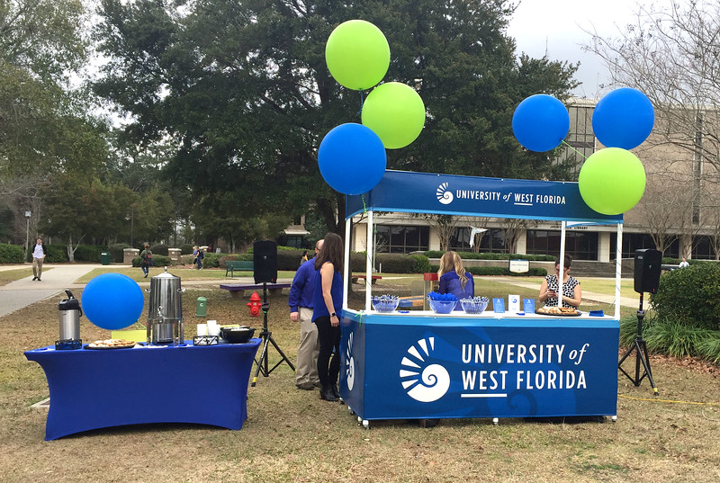 On Thursday, Feb. 15, Institutional Communications held an official Logo Launch Party on the Cannon Green. Since the University of West Florida's founding, the Nautilus Shell has been the institution's official emblem. Today, the nautilus re-emerges as a reminder to keep striving and pushing for greatness.