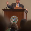 """Senator Bob Graham speaks  in the UWF Conference Center during the Seligman First Amendment Lecture Series January 16, 2018. The inaugural event entitled """"The Art of Public Dialogue"""" featured Drs. Kelly Carr, Jocelyn Evans and Bob Graham in a panel discussion where they discussed the importance of civic engagement, participatory politics, public debate, collective consensus building, space for dissent, and demonstration of mutual respect."""