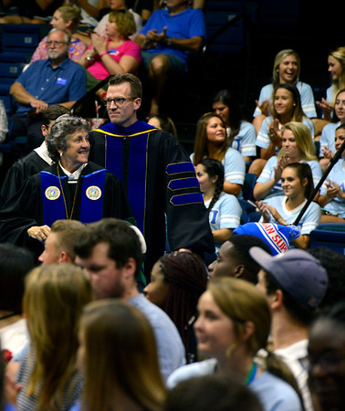 University of West Florida President Dr. Judy Bense at the New Student Convocation Friday, August 19, 2016 at the UWF Field House.