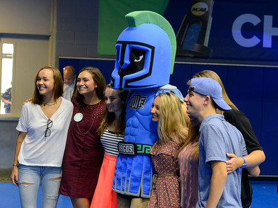 Students get photos with Argie during the New Student Convocation Friday, August 19, 2016 at the UWF Field House.