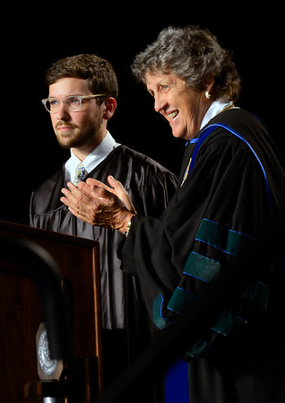 Student Government President Jake Herbert and University of West Florida President Dr. Judy Bense speak during the New Student Convocation Friday, August 19, 2016 at the UWF Field House.