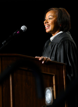 Alumna Harriett Wyer speaks during the New Student Convocation Friday, August 19, 2016 at the UWF Field House.
