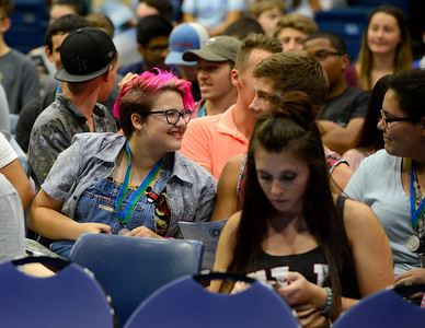 Students eagerly await for the New Student Convocation to commence on Friday, August 19, 2016 at the UWF Field House.