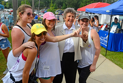 University of West Florida President Dr. Judy Bense poses for a photo with Kappa Delta's at Martin Hall Friday, August 19, 2016 during Move-In Day at the University of West Florida.