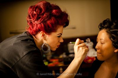 Doing Haley's hair & makeup before the show.