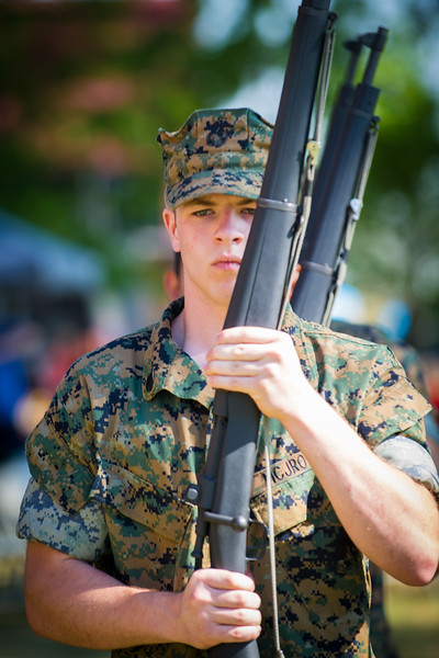 Cadet Staff Sergeant Jacob Beckmann, from Walls, performs Rifle Drills as a member of the U. S. Marine Corps Junior ROTC Armed Exhibition Drill Team from Lake Cormorant High School as part of the DeSoto County Earth Day Celebration on Saturday, April 23, 2016 in Hernando.