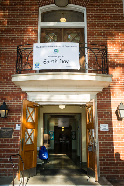 A sign welcomes visitors into the county courthouse in Hernando at the DeSoto County Earth Day Celebration on Saturday, April 23, 2016.
