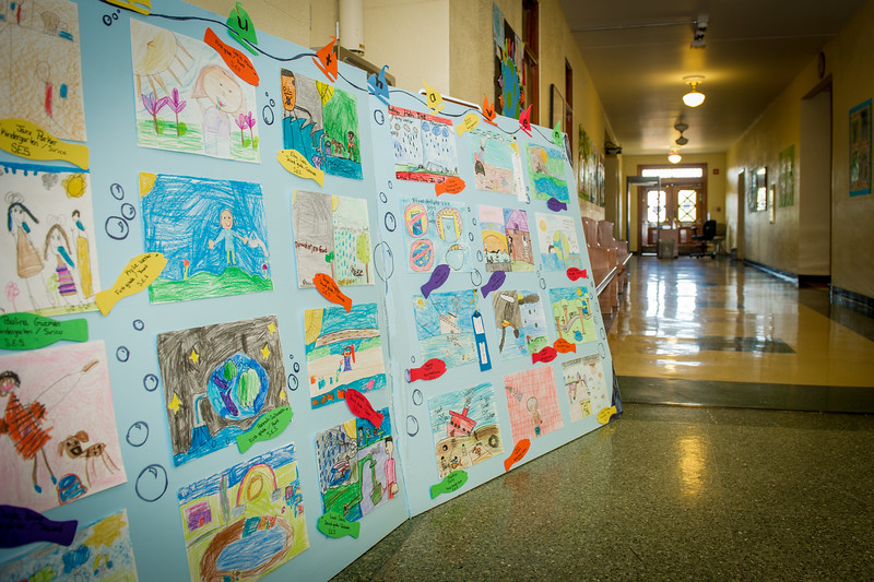 Projects submitted by area school children are mounted in the county courthouse waiting to be judged as part of the DeSoto County Earth Day Celebration Saturday, April 23, 2016 in Hernando.