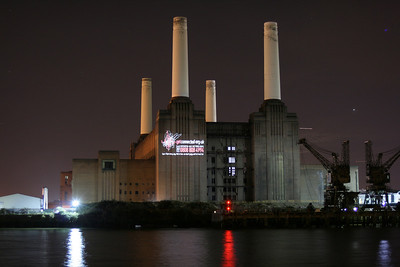 Projection onto Battersea Power Station for Get Connected, 2007
