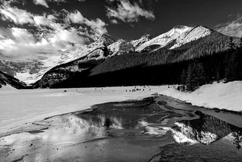 Ice Magic Festival 2014, Reflection of the mountains surrounding Lake Louise Alberta Canada.