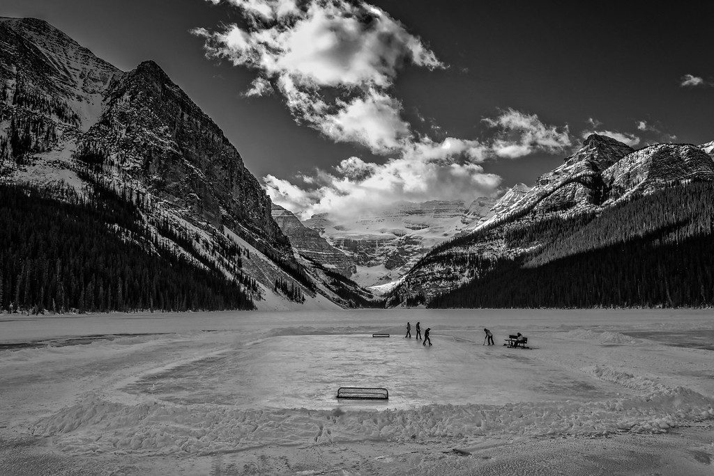 Ice Magic Festival 2014, Guest of Fairmont Chateau Lake playing Ice Hockey, on the frozen Lake Louise.