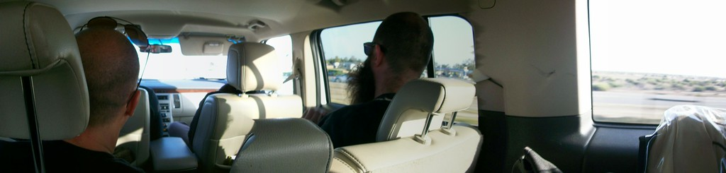 I was in the Back back seat testing out the pano feature of my point and shoot. With Al & Nate