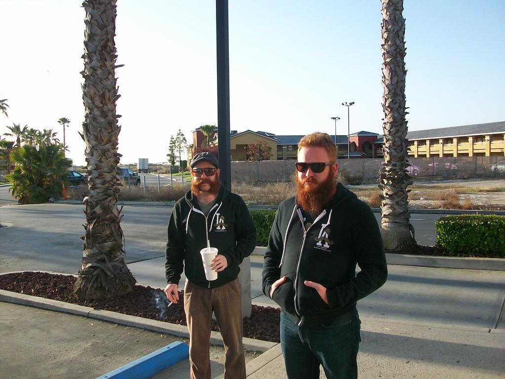 Stop for Breakfast... Left to right Steve McQuaide & John Myatt