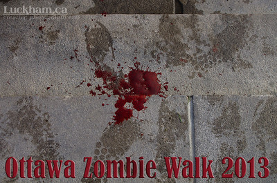 Blood on the steps to Parliament - Zombie Walk 2013
