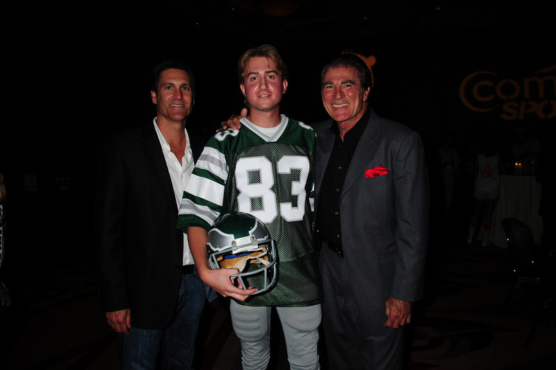 "Vince Papale and Matt Collier, who is wearing the Mark Wahlberg ""costume"" from the movie Invincible which is about Vince Papale's life, posing with Mark Ciardi - the Producer of Invincible."