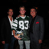 """Vince Papale and Matt Collier, who is wearing the Mark Wahlberg """"costume"""" from the movie Invincible which is about Vince Papale's life, posing with Mark Ciardi - the Producer of Invincible."""