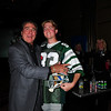 """Vince Papale and Matt Collier, who is wearing the actual Mark Wahlberg """"costume"""" from the movie Invincible which is about Vince Papale's life."""