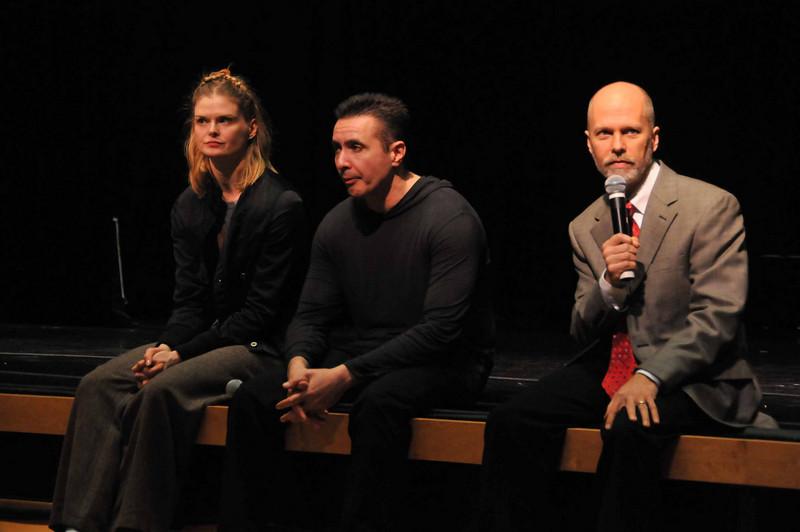 Dancer Zofia Tujaka, Choreographer Edouard Lock, Kimmel Ctr Arts & Culture director Tom Warner