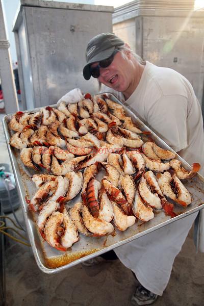 Chef Kurt Hawk with lobster tails