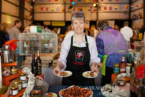 Kim Martin with her prize winning bite - Lobster and Brie Cheese, en Petit Choux with Eventide Eventide Epicurean Specialties Fig balsamic.