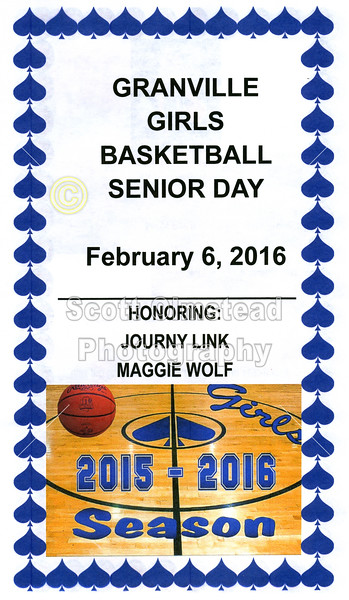 2016-02-06 Granville Girl's Basketball Senior Night