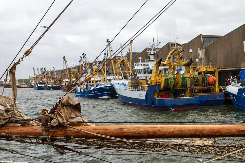 Fishing boats on an overcast 'Vlaggetjesdag'.