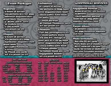 Event and wedding Packages