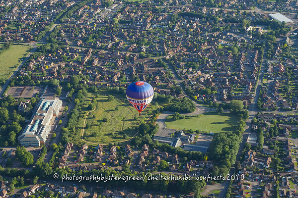 Aerial view of Bishops Cleeve just north west of Cheltenham Racecourse.