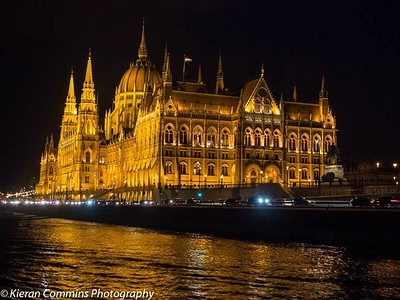 Parliament at night from the river
