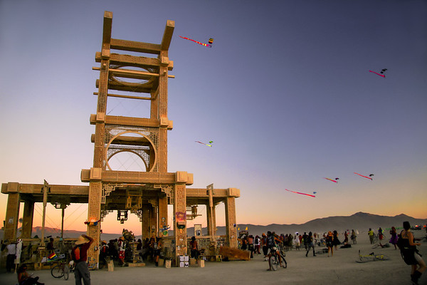 Skydivers over the Temple, Burning Man 2007