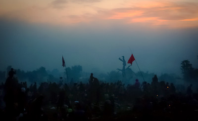 Glastonbury Festival at dawn