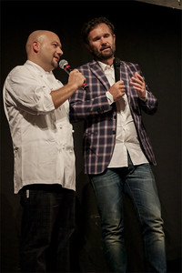 Celebrity chef Carlo Cracco on stage at gala for Settimana dei Buonvivere