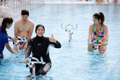 Residents during aqua exercises at Active Health Lab Launch, taken on 4th Feb 2018 at Heartbeat@Bedok, Singapore. Photo by Sanketa Anand/SportSG