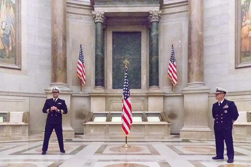 Alan Brechbill accepts his commsion to the rank of commander in the United States Navy on October 12, 2018, at the National Archives Building before the Constituiton.
