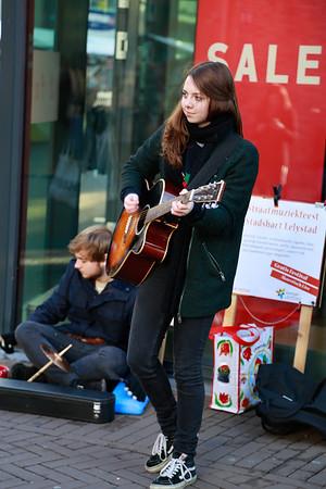 Straatmuziekfeest evenement in het centrum van Lelystad.