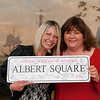 Brainwave Cheryl Fergison : Eastenders actress Cheryl Fergison hands over an Albert Square street sign to be auctioned to raise money for Brainwave.