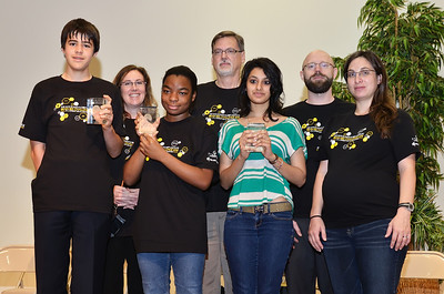 From left to right: 1st place winner, Ilya Katz, Research Group Leader and Brain Bee Judge, McLean Bolton, 2nd place winner, Anastasia Colas, Chief Executive Officer, Scientific Director of the Max Planck Florida Institute and Judge, David Fitzpatrick, 3rd place winner, Anugyoe Sood, Research Group Leader and Judge, James Schummers and Head of Education Outreach, Ana Fiallos.
