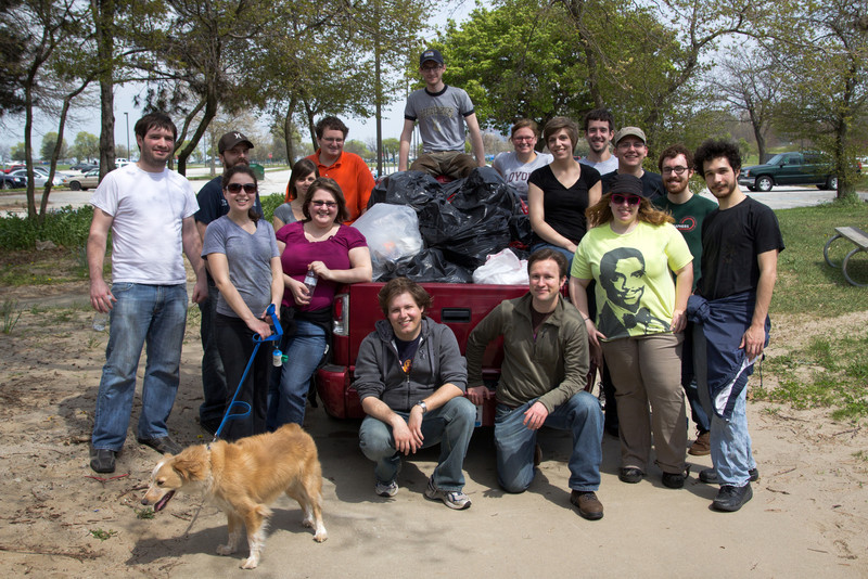 The gang and all the trash bags.