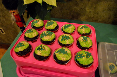 The Christmas tree cupcakes - chocolate with mousse/alcohol filing.