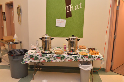 Fresh regular and decaf coffee along with some pastries were served.
