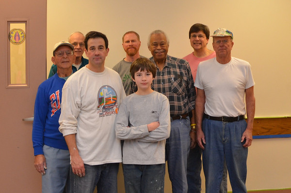 Painting crew - Dom, Bob, Geoff, John, Geoff's son, Vernon, Ed and Guy. Dick did all the preparation work including the blue tape.