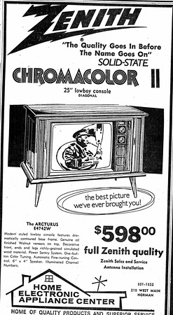 {Zenith, 1964}<br /> A solid state color TV might not be much to brag about today, but in<br /> 1964 it was worth the asking price of nearly $600. Technology changes,<br /> but the message here is a familiar one: You need a new TV.