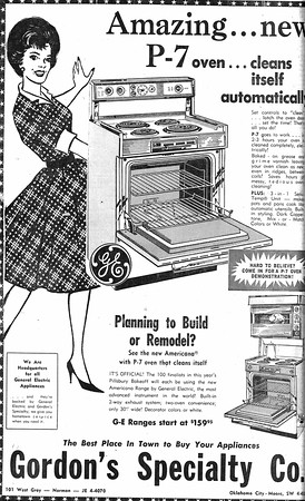 """{Gordon's Specialty Co., 1964}<br /> Dr. Fred Beard:<br /> The emphasis on """"family"""" and """"the homemaker"""" that we see in the 1964<br /> ads for the Transcript and the GE kitchen range is quite consistent<br /> with both the 1950s and the 1960s. The family unit was much more<br /> central to most people's lives than it is today and gender roles were<br /> much more rigid and well defined.<br /> By the end of the 1970s, the image of a pretty, perfectly coiffed and<br /> fashionably dressed homemaker like we see in the kitchen appliance ad<br /> would certainly lack the appeal that it had in the 1960s."""