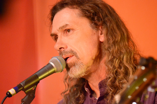 Frank Lawrence sings a song ,Thursday, April 21, 2016, at Michelangelo's during the opening night of Norman Music Festival 9.  The music continues today with acts starting as early as 3 p.m. (Kyle Phillips / The Transcript)