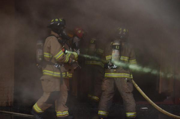 Norman building burns