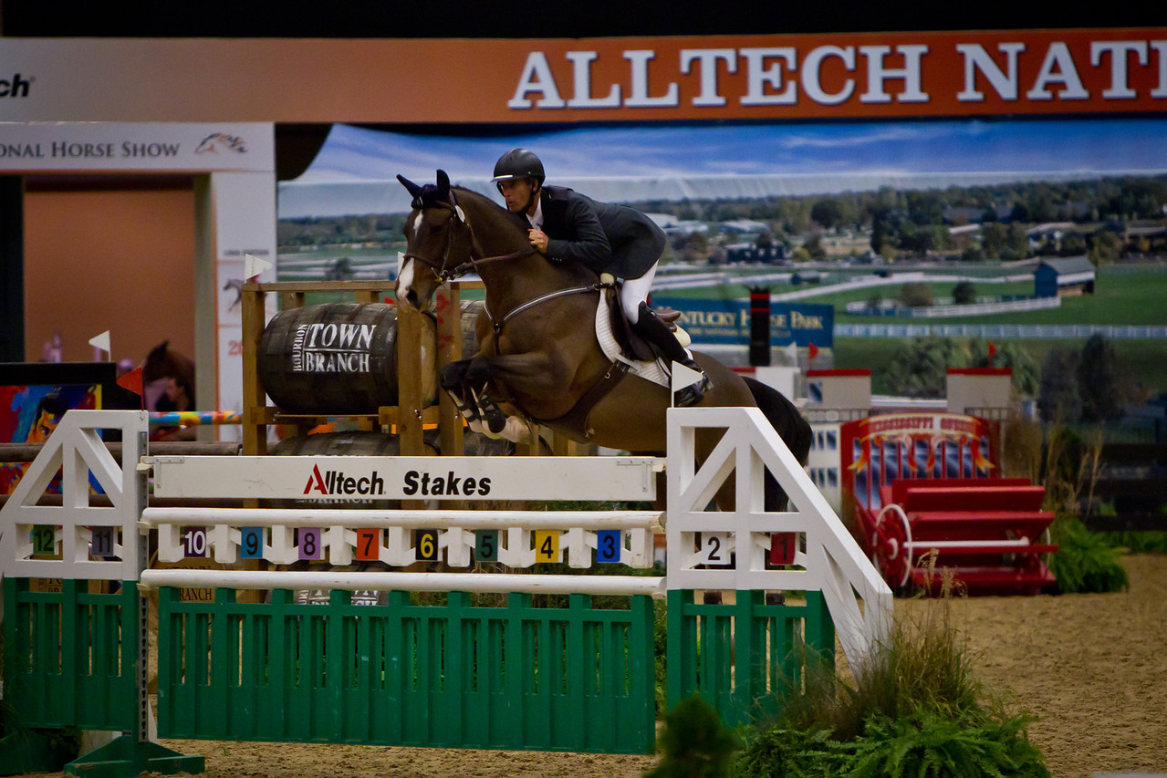 Richard Spooner on Cristallo, owned by Show Jumping Syndicates, wins the $250,000 Grand Prix at the Alltech National Horse Show.