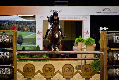 A competitor in the $250,000  Alltech National Horse Show Grand Prix on 11.05.2011