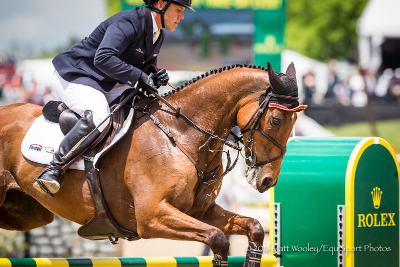 Buck Davidson and Park Trader in the Stadium Jumping portion of the Rolex 3-Day Event at the Ky. Horse Park 5.01.16.