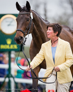 Sarah Cousins and Tsunami, jog for the Rolex 3-Day Event at the Ky. Horse Park 4.27.16.